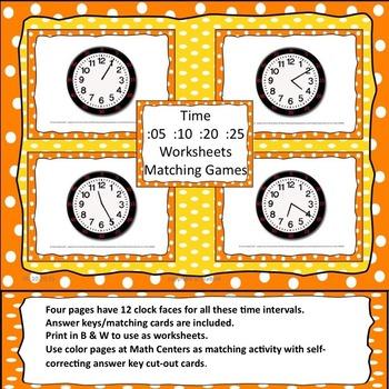 Low or No Prep Telling Time Practice (Orange)