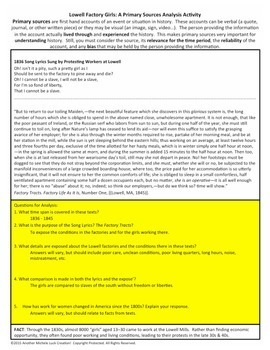 Lowell Mill Girls Factory Industrialism American Document Analysis Activity