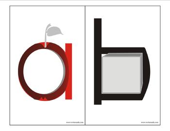 Lowercase Alphabet Flash Cards and Alphabet Desk Strips