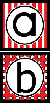 Lowercase Alphabet Letters - Red & Black