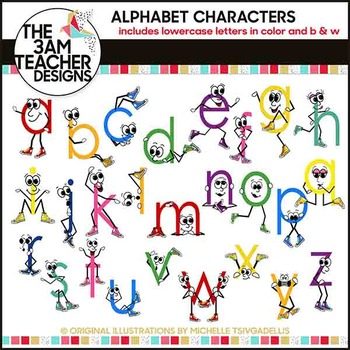 Lower Case Letters With Character Clip Art In B W Color By The