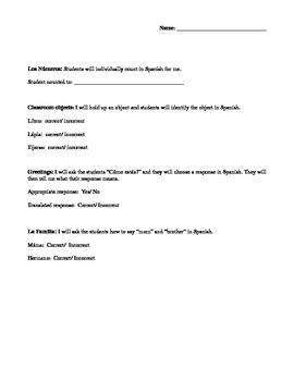 Lower Elem. Spanish Quiz- Numbers, classroom objects, gree