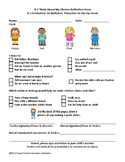 Lower Elementary Behavior Reflection Form (English/Spanish Note for Parents)