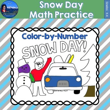 Snow Day Math Practice Color by Number Grades K-4