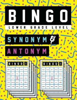 Lower Grade Synonym & Antonym BINGO - No Prep!!