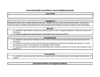 Lower Intermediate Integrated Skills Lesson Plan A Travel Vocabulary Gerunds