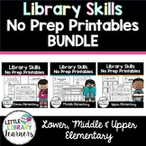 Lower, Middle and Upper Library Skills No Prep Printables BUNDLE