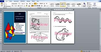 Lower Primary Art Examination: Draw from grid / Animal Patterns / Color by Rules
