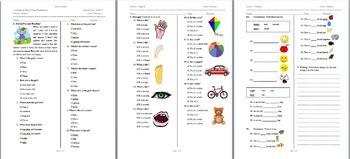 Lower Primary School First Grade Beginner ESL English Language Exam This is/Body