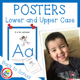 Lower and UPPER CASE Posters with Coloring Pages - BLUE (pdf and png)