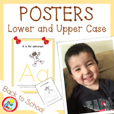 Lower and UPPER CASE Posters with Coloring Pages - PEACH (pdf and png)