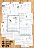 26 Lower case Alphabet writing practice sheets