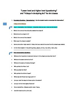 105 Lower to Higher level questions--H.S. Art--& 4 Steps in Analyzing Art