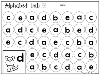 Lowercase Alphabet Dab It Worksheets. Preschool-KDG Phonics and Literacy.