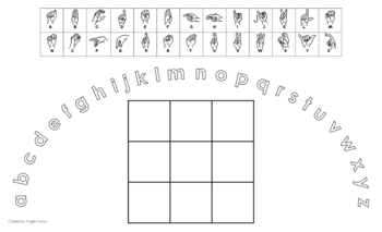 Lowercase Alphabet Arc Mat with American Sign Language and 3x3 Boxes
