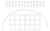 Lowercase Alphabet Arc Mat with American Sign Language and 6x3 Boxes