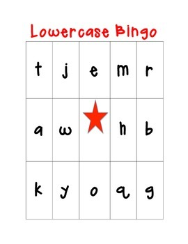 Lowercase Alphabet Bingo! 24 cards