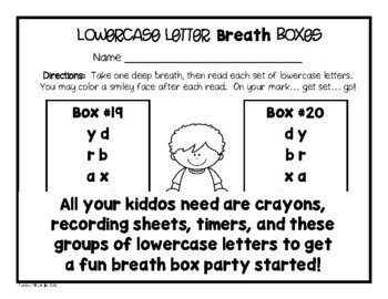 Lowercase Letter Breath Box Fluency Practice