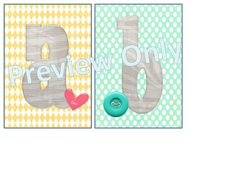 Yellow, Grey, and Teal Alphabet Letter Cards - lowercase