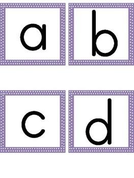 Lowercase Alphabet Letter Flashcards Purple Dot