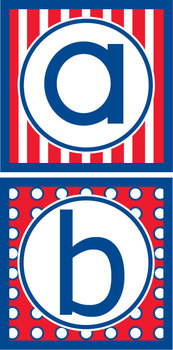 Lowercase Alphabet Letters- Americana/ Red, White & Blue
