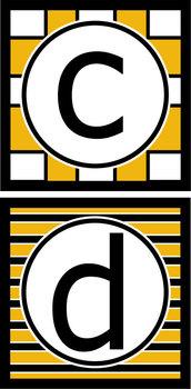 Lowercase Alphabet Letters- Black & Gold