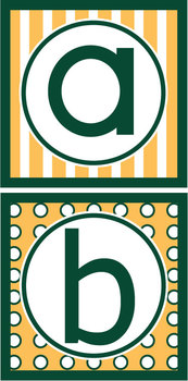 Lowercase Alphabet Letters- Green & Gold