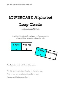 Lowercase Alphabet Loop Cards - in Comic Sans MS font.