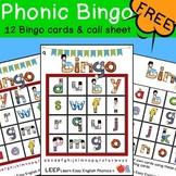 Lowercase Alphabet Phonic Bingo Set - 12 Cards & Call Sheet | LEEP Phonics