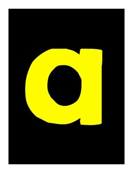 Lowercase Alphabet Posters | Black, White, and Yellow