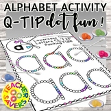 Lowercase Alphabet Q-Tip Painting Activity for Preschool o