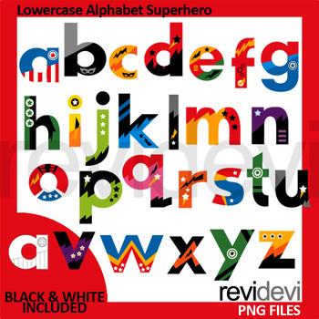 Lowercase Alphabet Superhero Clip Art