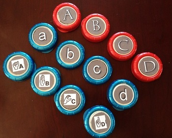 Lowercase Alphabet letters for bottle caps.
