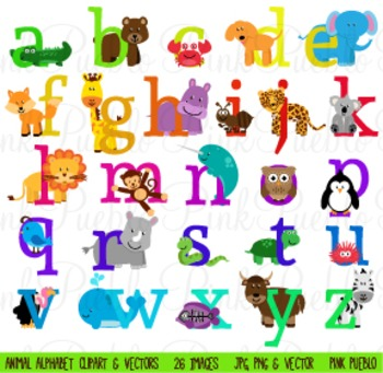 Lowercase Animal Alphabet Clipart Clip Art - Commercial and Personal Use