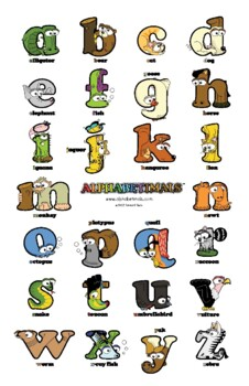 Lowercase Letter Wall Poster – Alphabetimals Alphabet Printables