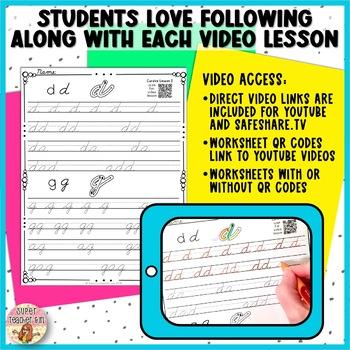 Lowercase Cursive Handbook with Video Lessons BUNDLE