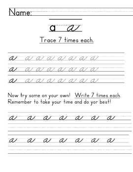 lowercase cursive worksheets by corey luce teachers pay teachers. Black Bedroom Furniture Sets. Home Design Ideas