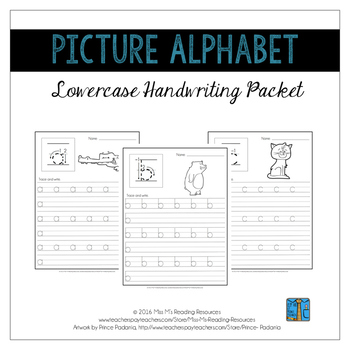 Lowercase Handwriting Pages {Picture Alphabet}