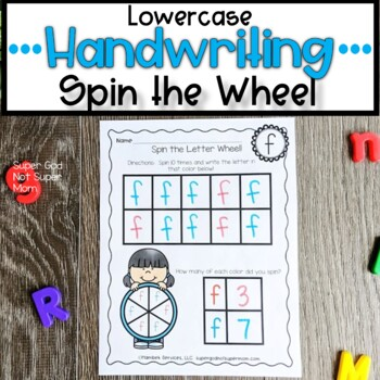 Lowercase Handwriting Worksheets- Spin the Letter Wheel