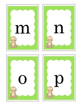 Lowercase Letter Flashcard Sloth Themed