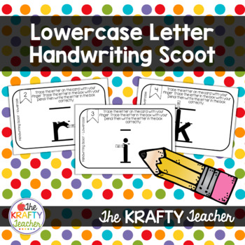 Lowercase Letter Handwriting Scoot Activity for Kindergarten First Grade