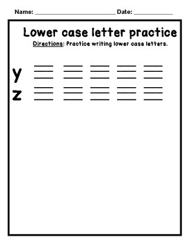 Lowercase Letter Practice Writing