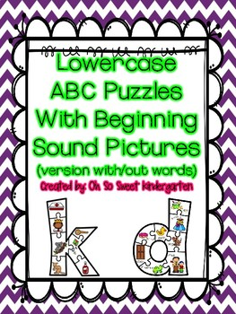 Lowercase Letter Puzzles with Beginning Sounds A-Z