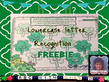 Lowercase Letter Recognition- b versus d coloring activity for St. Patricks' Day