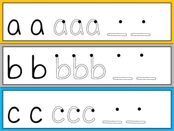 Lowercase Letter Tracing Cards
