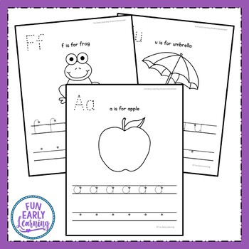 Lowercase Letter Worksheets with Guided Lessons (2 Writing Lines)