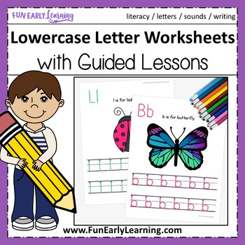 Lowercase Letter Worksheets with Guided Lessons (3 Writing Lines)