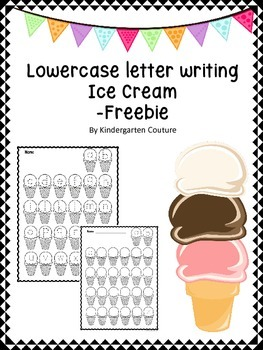 Lowercase Letter Writing (Ice Cream) -Freebie