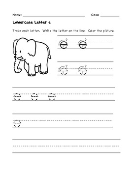 Lowercase Letter Writing Practice