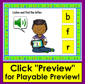 Lowercase Letters-Interactive Self-Chkg Boom Cards™ Task Cards- with sound!